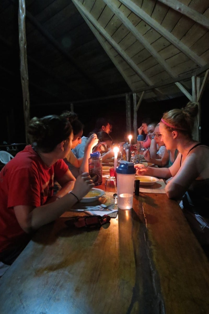 Back at the hostal, dinner by candlelight in the Amazon Jungle