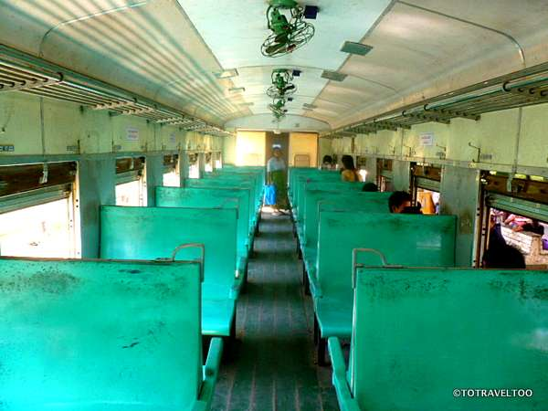 Hard seats for your 3 hour ride around Yangon