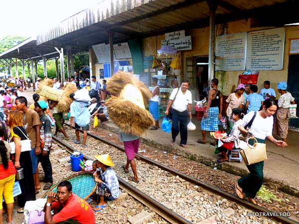 Chaos as the train pulls into the Yangon station
