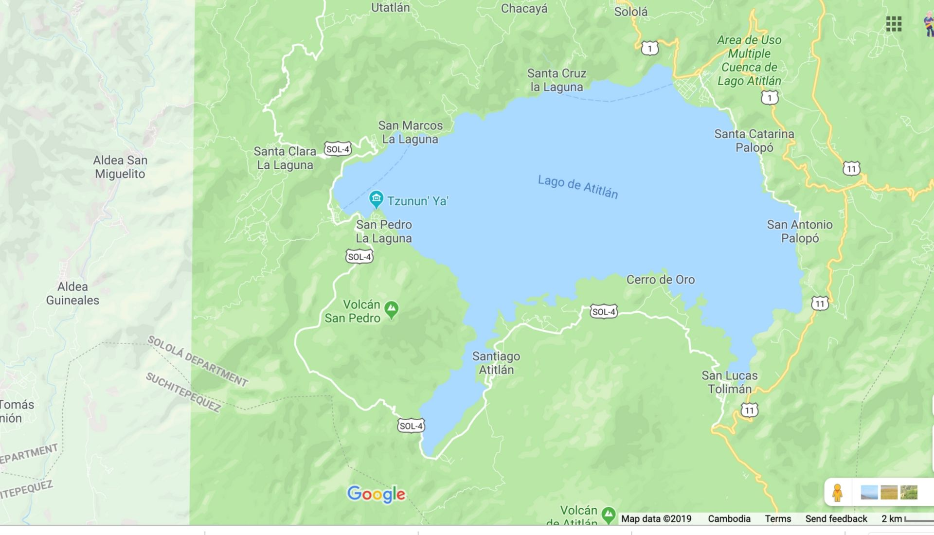 Map of the villages around Lake Atitlan