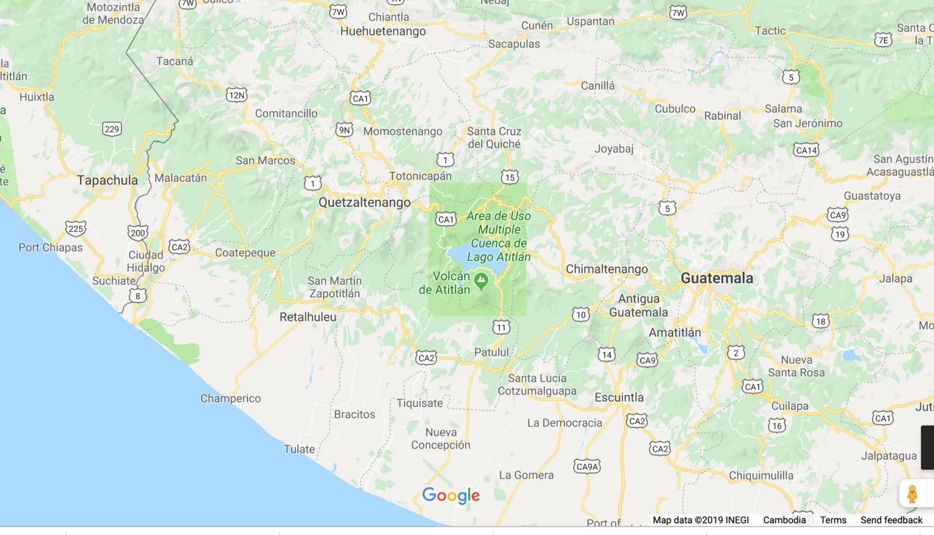 Map of location of Lake Atitlan