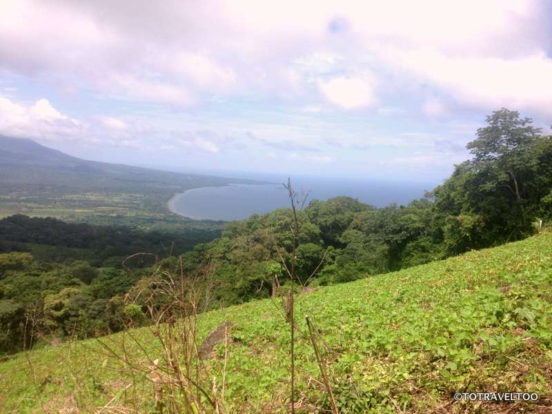 View of Santa Cruz and Santa Domingo Ometepe Island in the background and kidney bean plants in the foreground
