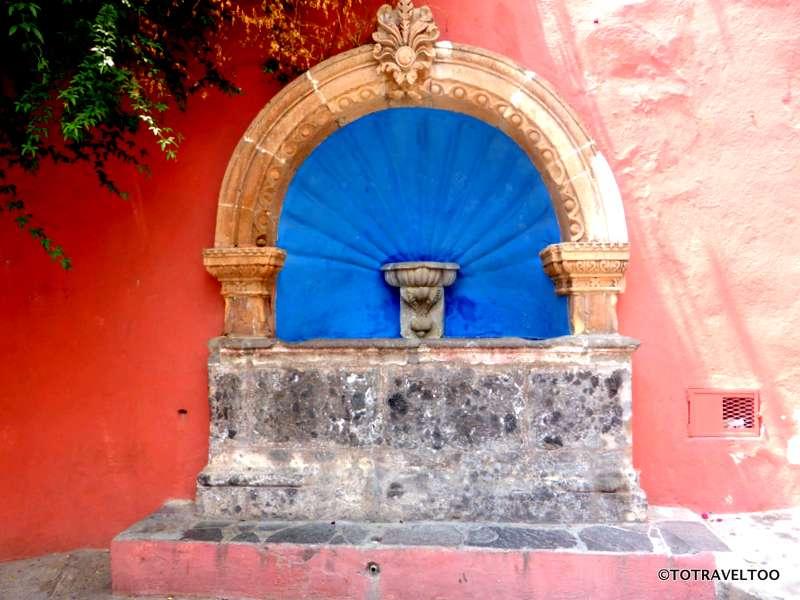 Fountain in Hospicio Street in San Miguel de Allende Mexico