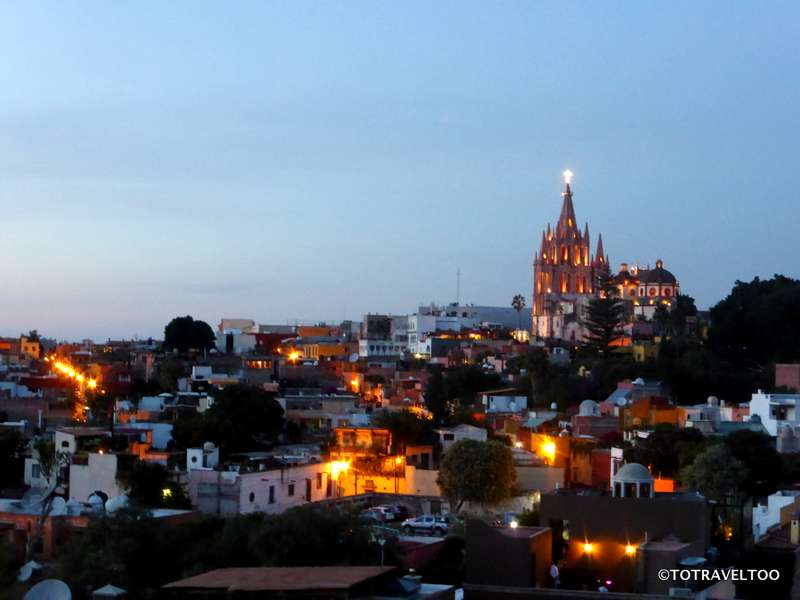 La Parroquia from the Luna Rooftop Tapas Bar in San Miguel de Allende Mexico