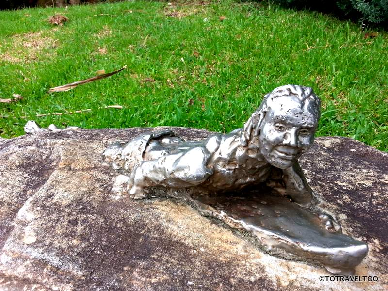 Metal sculptures on the Shelly Beach Walk