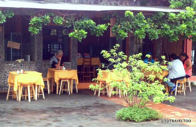 Restaurants along the harbourfront in San Cristobal Galapagos Islands