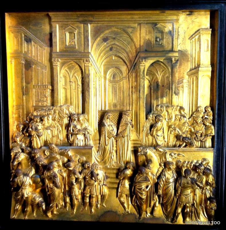 Close Up of One of the Panels on the Gates of Paradise in the Piazza del Duomo