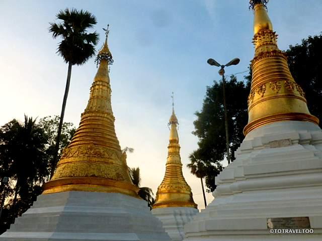 Pagodas at sunset at Shwedagon Pagoda