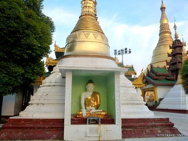 Buddha Image Inside one of the many Pagodas at the Shwedagon Pagoda