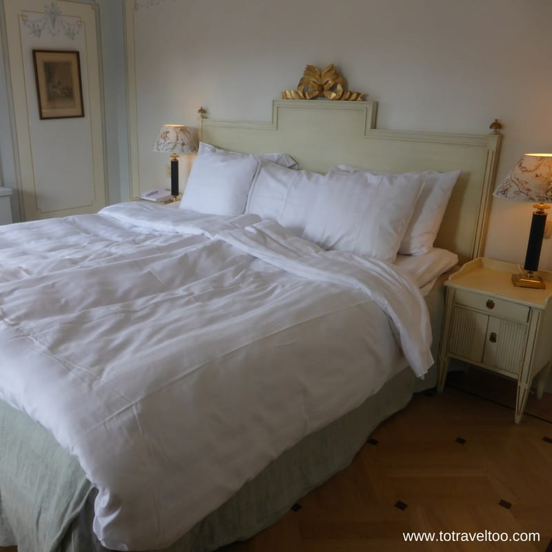 Classic bedroom style at Gripsholms Vardshus Inn Sormland Region of Sweden