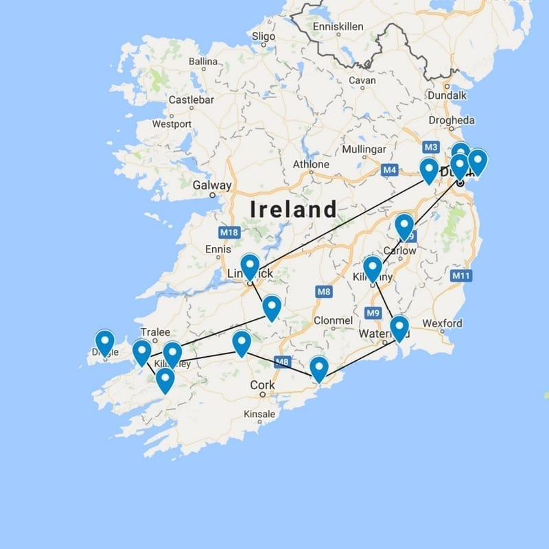 Dundalk Map Of Ireland.Self Drive Ireland Itinerary Luxury Castles And Manor Houses To