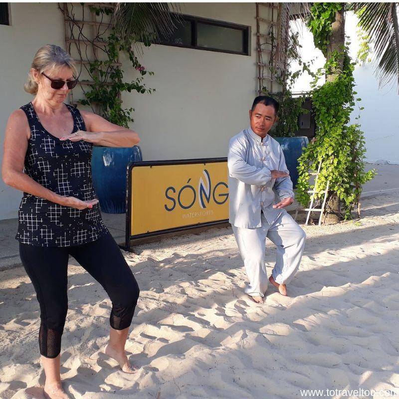 Jane doing Tai Chi - luxury escape in Vietnam