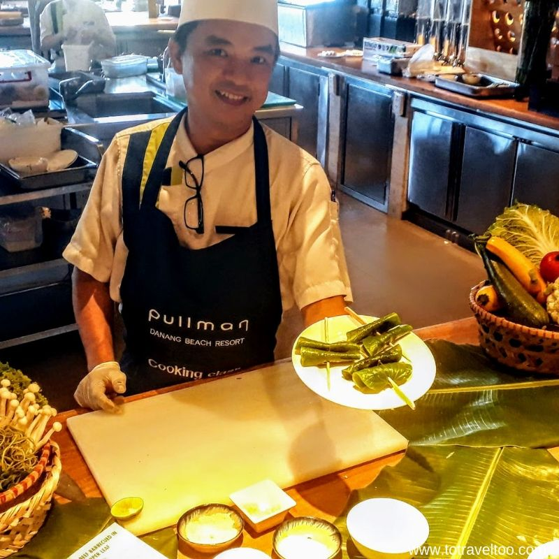 Chef Tan teaching us Vietnamese cuisine in a cooking class - luxury escape in Vietnam