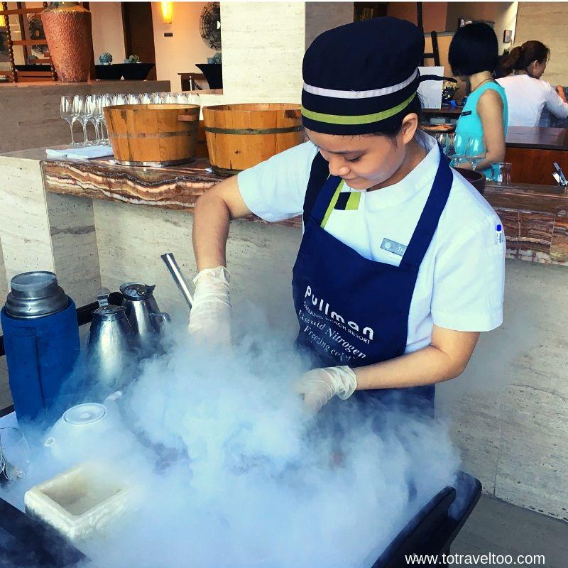 Liquid Nitrogen Ice cream preparation - luxury escape in Vietnam