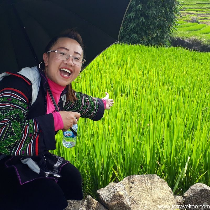 Mao our guide explaining rice growing techniques
