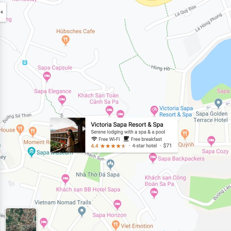 Map showing the location of Victoria Sapa Resort & Spa in Vietnam
