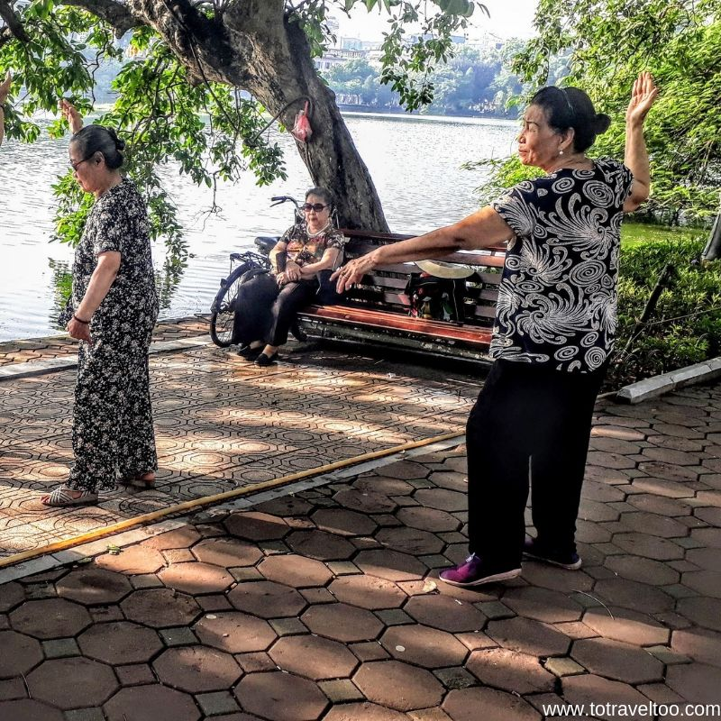 Early morning exercise around Hoan Kiem Lake
