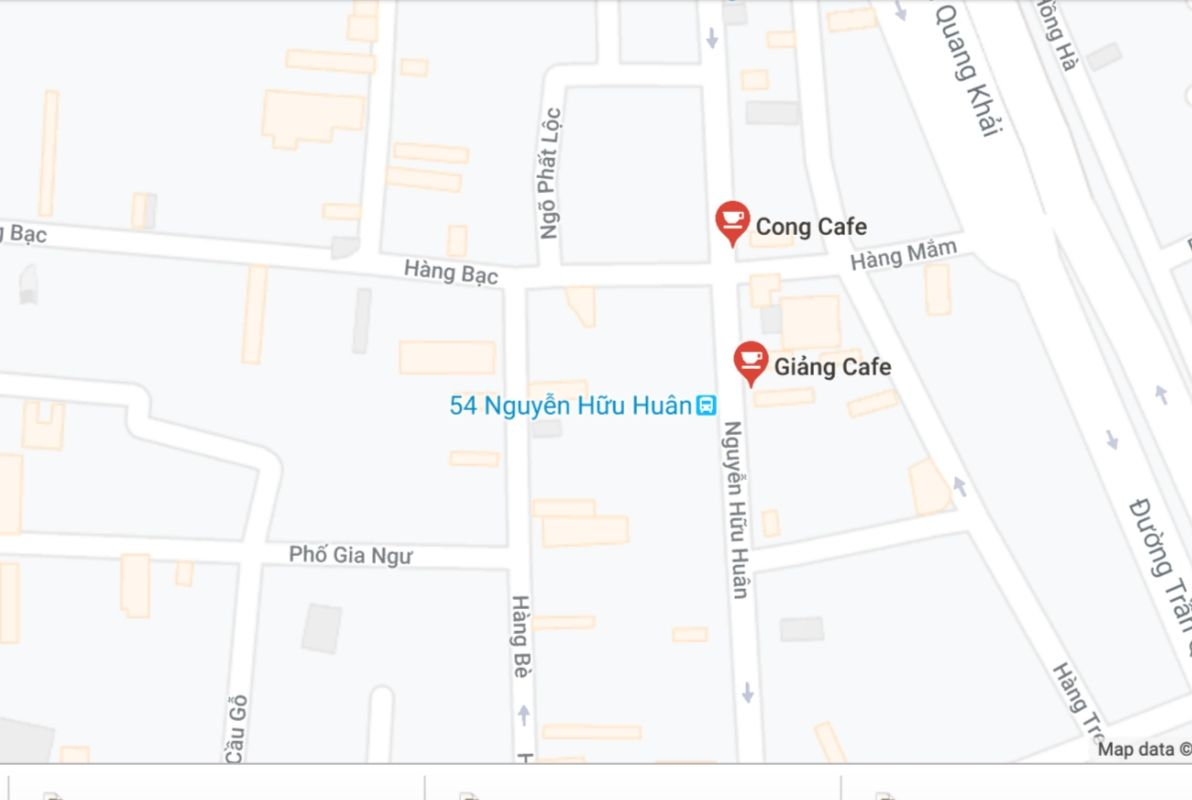 Map showing two coffee shops for egg and coconut coffee in Hanoi