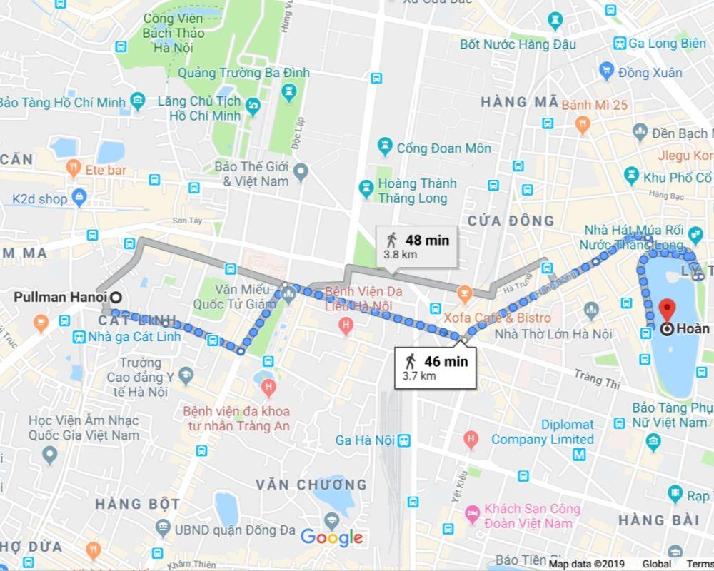 map from Pullman Hotel to Hoan Kiem Lake