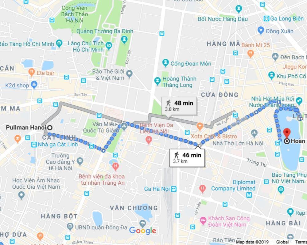 map from Pullman Hotel to Hoan Kiem Lake