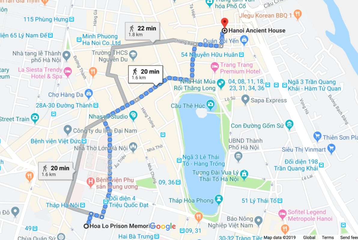 Distance between Hoa Lo Prison and Hanoi Ancient House