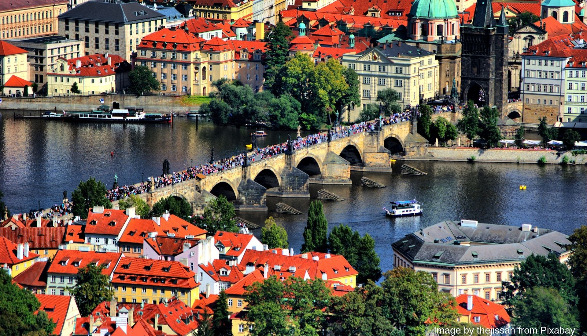 Busy Charles Bridge during the day