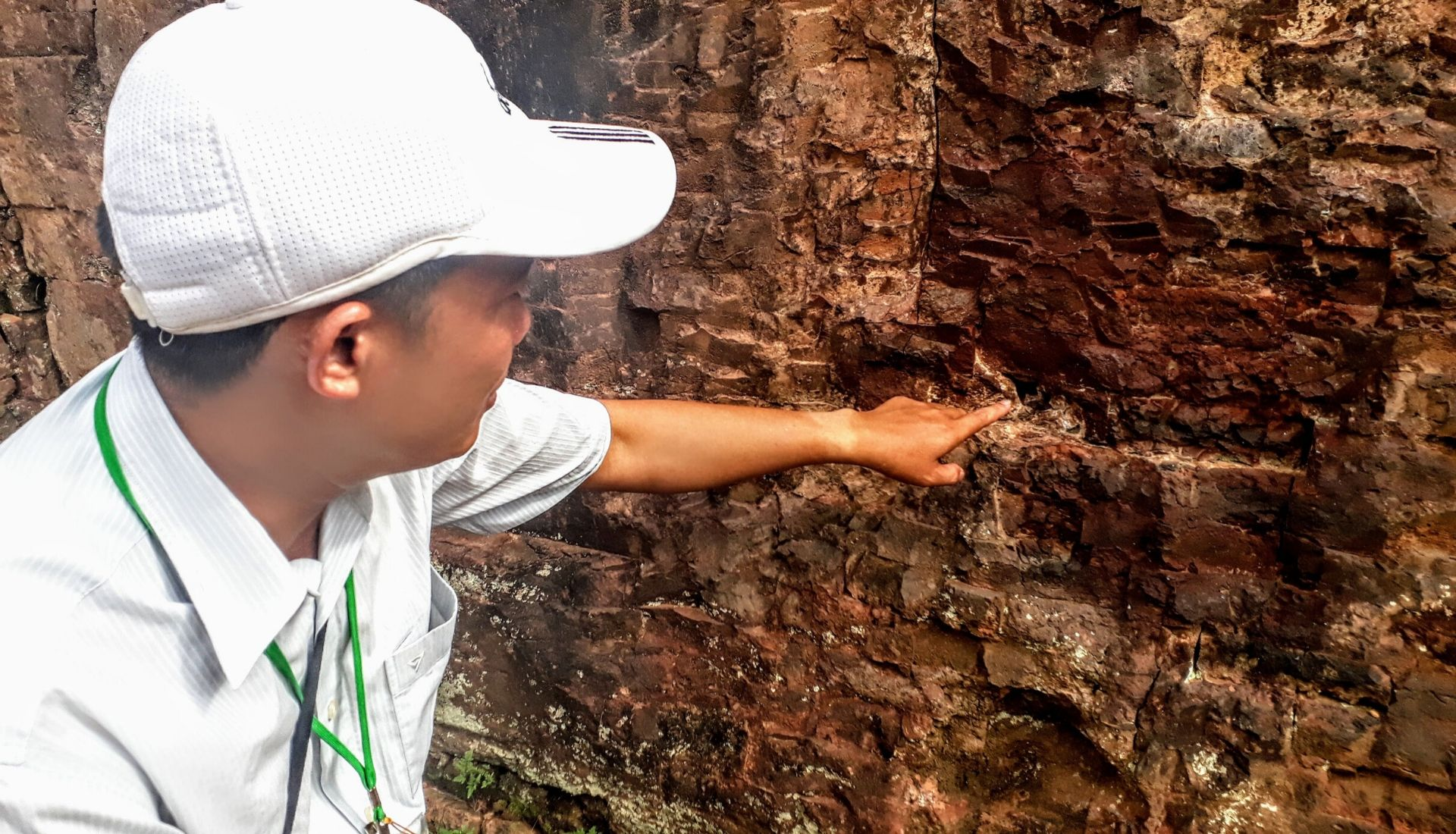 Our guide showing the brick formation that is still a mystery