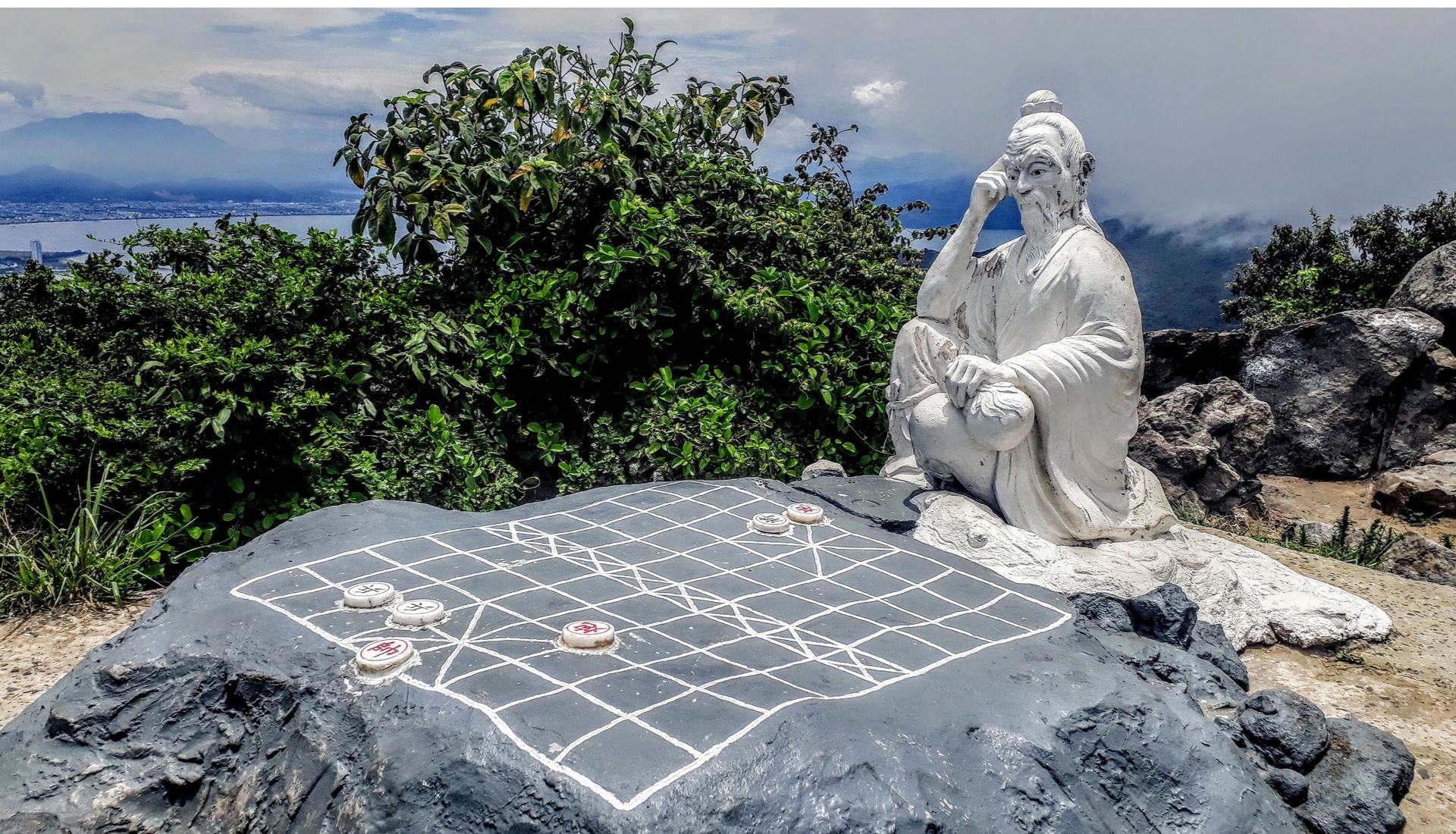 Statue of Confucious at the top of Monkey Mountain