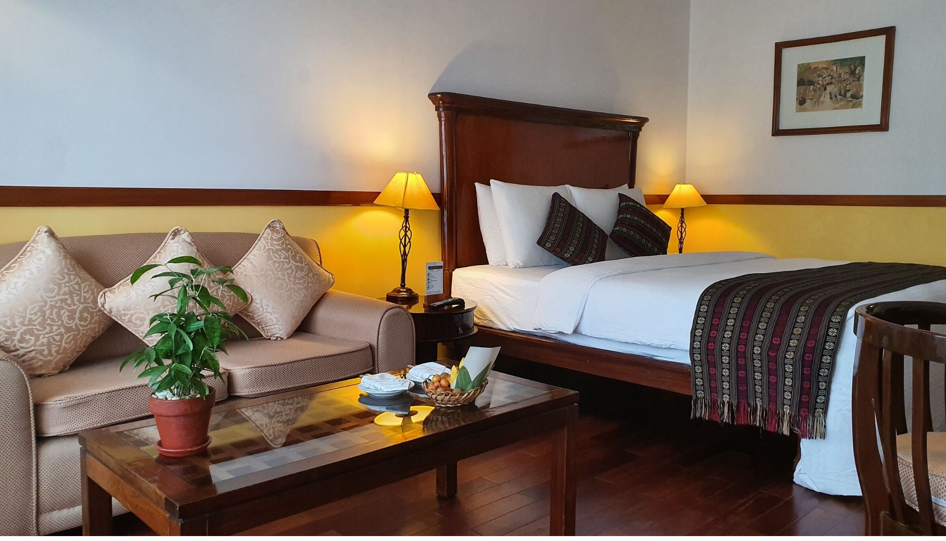 Our deluxe bedroom at the Victoria Can Tho Hotel