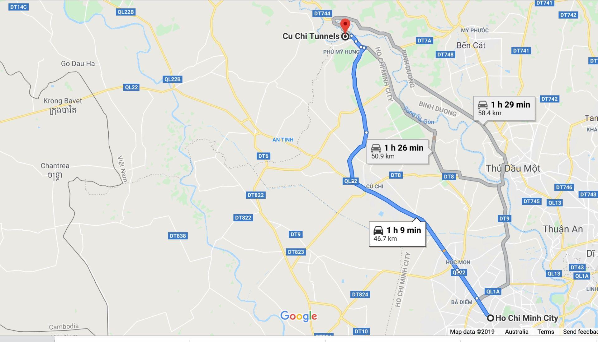 Cu Chi Tunnels Location Map
