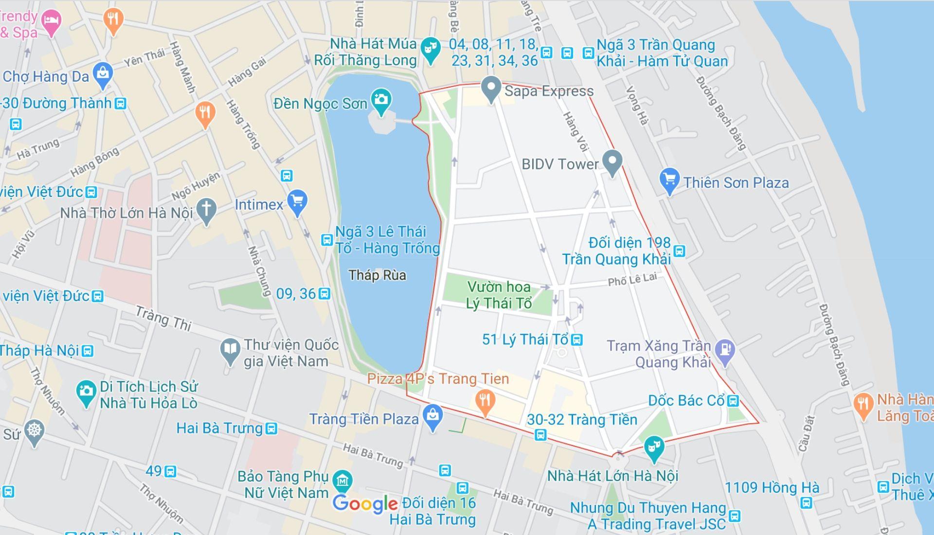 Map of French Quarter of Hanoi
