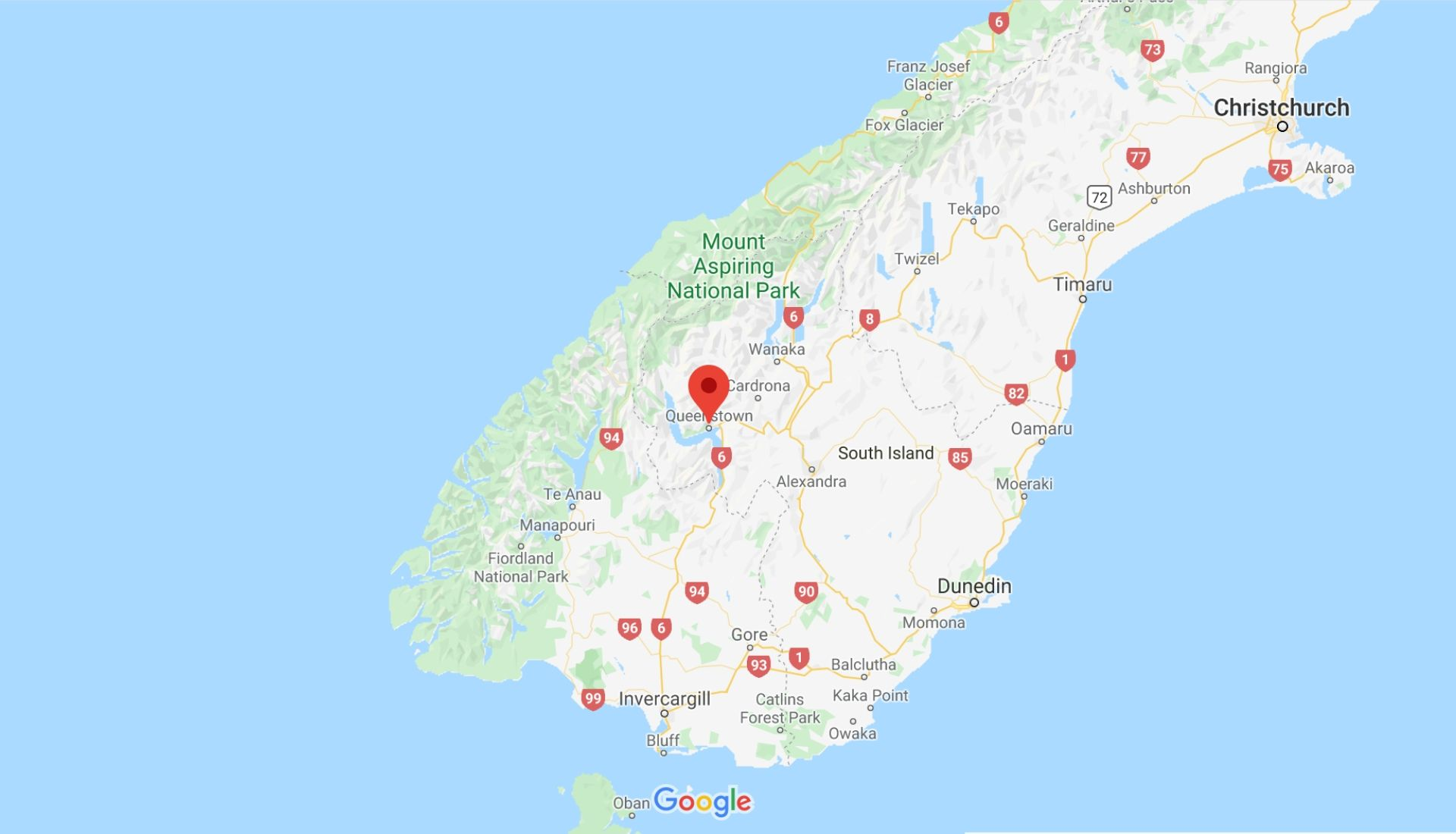 Location of Queenstown on the South Island