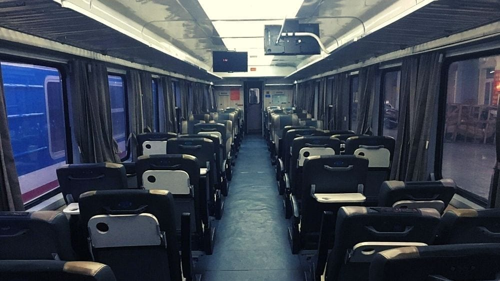 Inside the carriage of Reunification Express from Hanoi to Hue