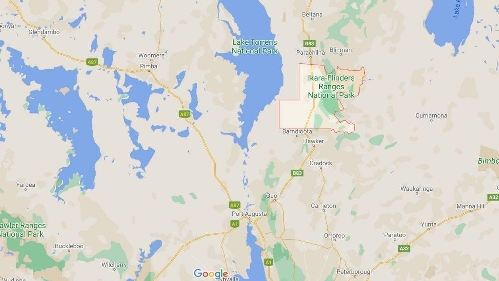 Map of Flinders Ranges