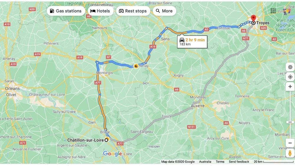 Road travel map from Chatillon-sur-Loire to Troyes