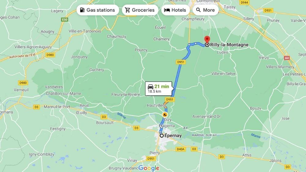 Driving route between Epernay and Rilly-la-Montagne
