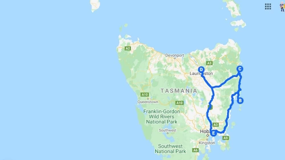 Map of East Coast of Tasmania 5 day Road Trip